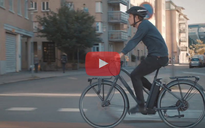 EcoRide electric bike cycling to work